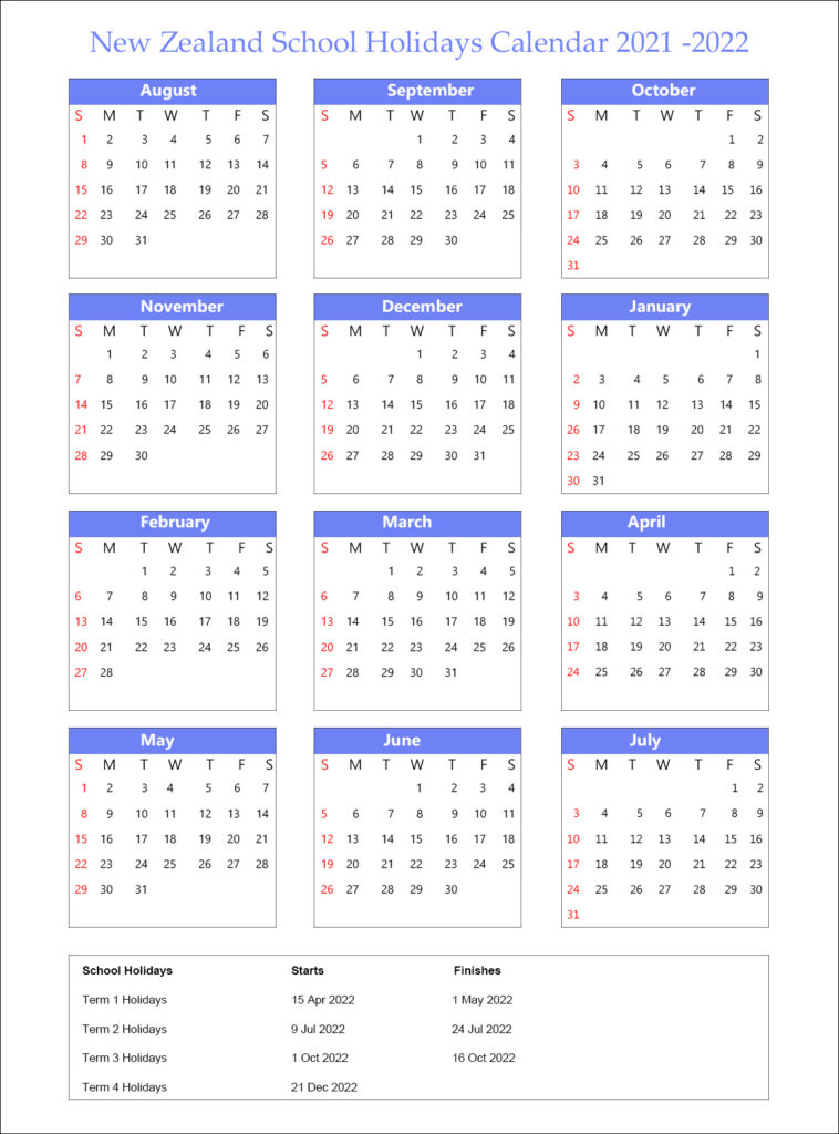 NZ School Holidays 2021