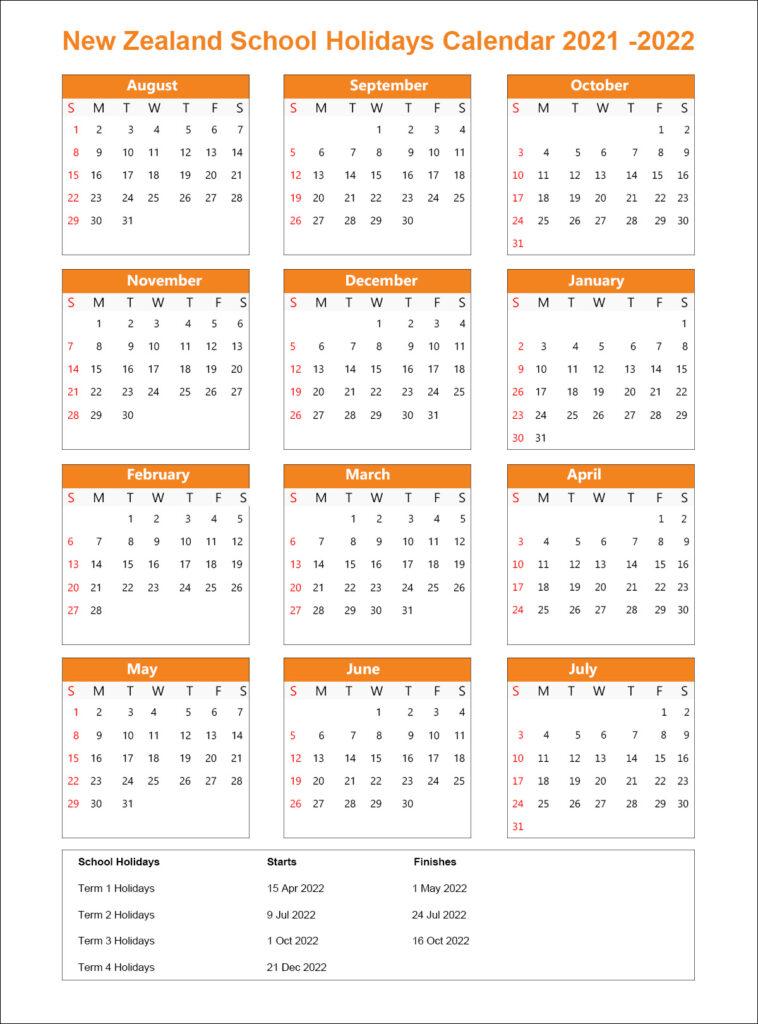 NZ School Holidays Calendar 2021