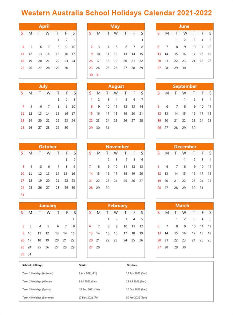WA School Calendar 2021