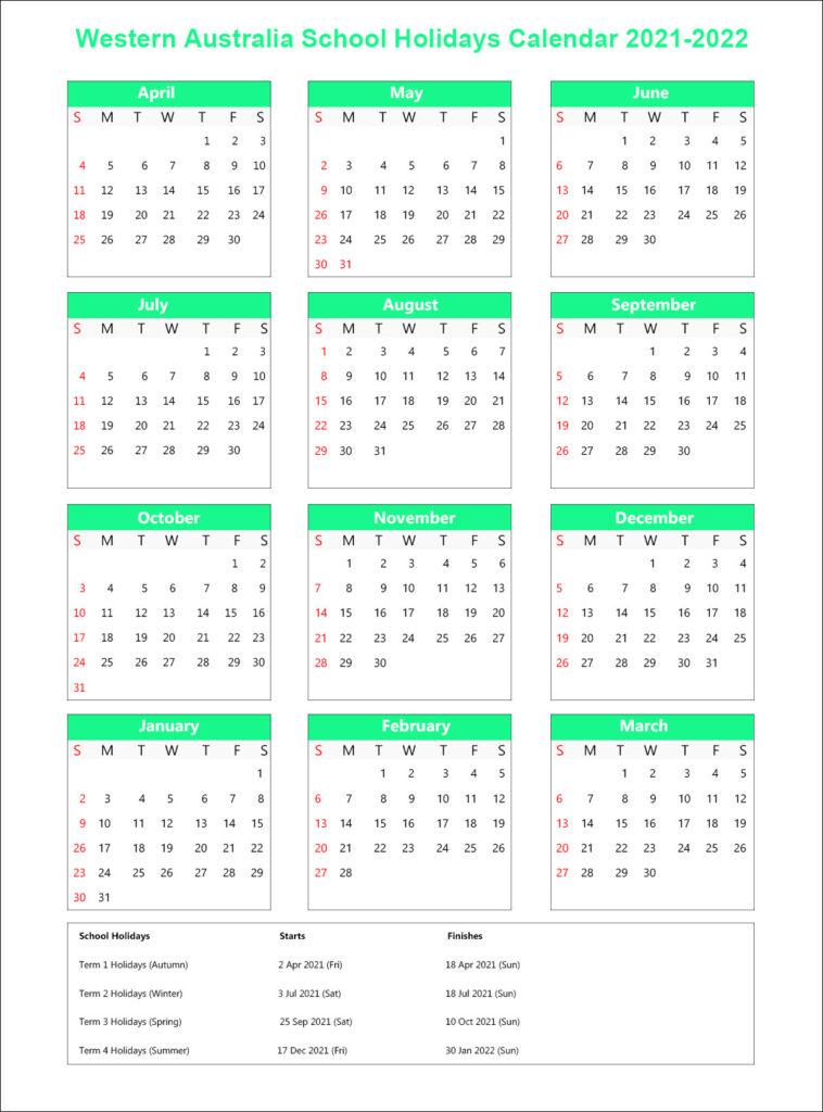 WA School Term Dates 2021