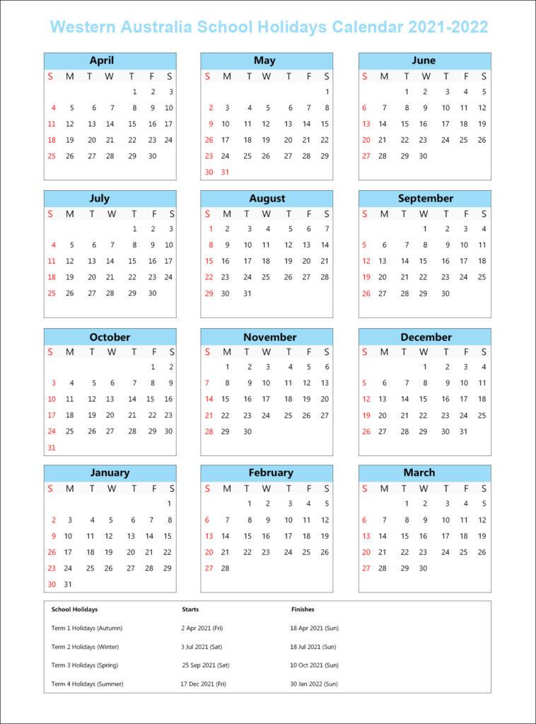 WA School Calendar 2021 with Holidays