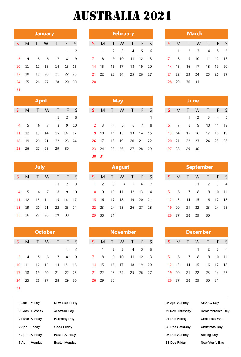 Australia 2021 Calendar with Holidays