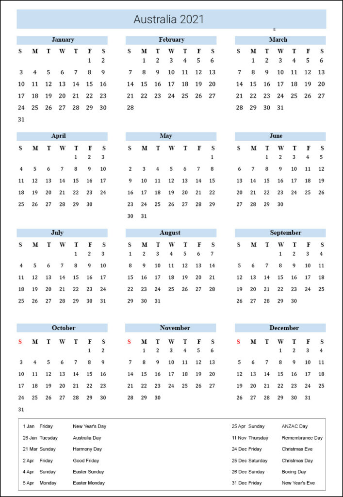 Australia Holidays 2021
