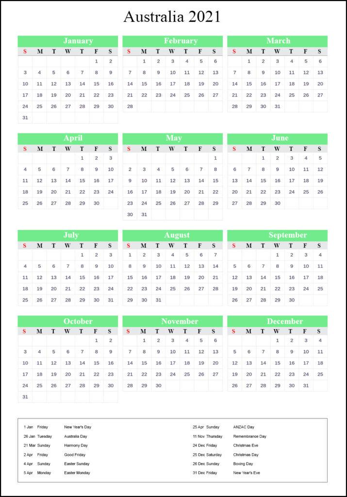 Australia 2021 Calendar