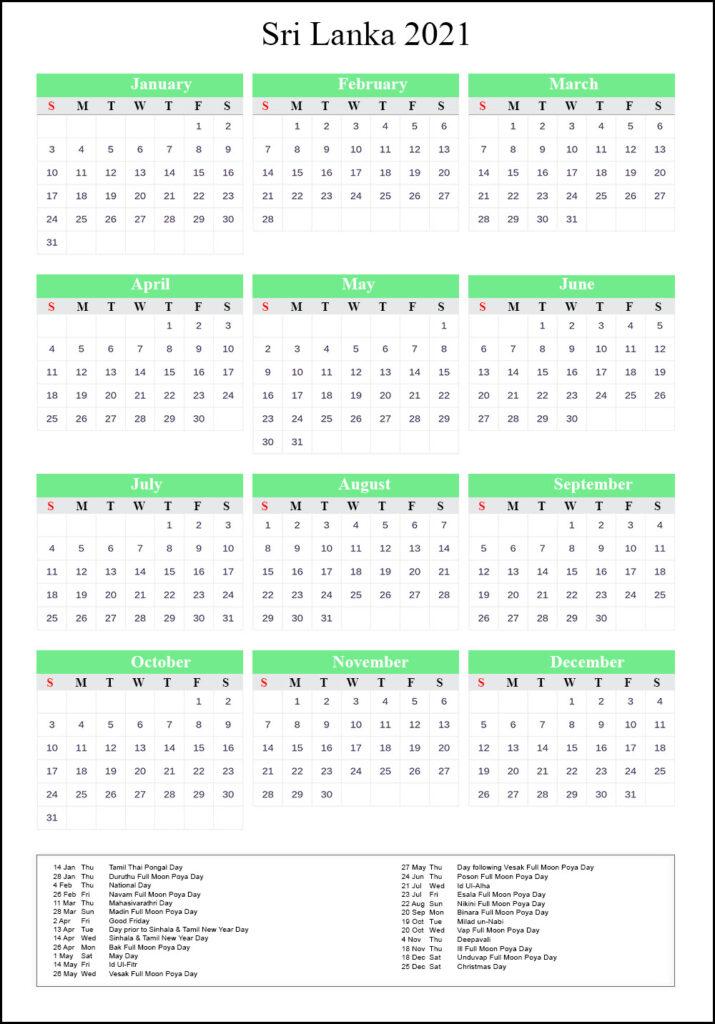 Sri Lanka Calendar 2021