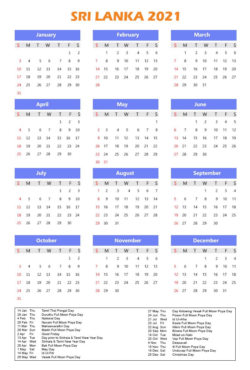 Sri Lanka Calendar 2021 with Holidays